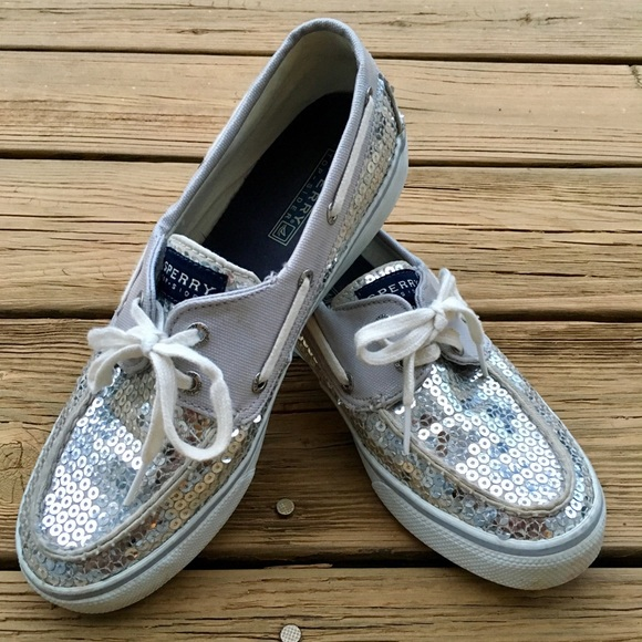 Sperry Topsider Womens Silver Sequin